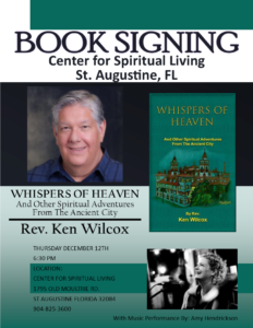 Book Signing By Reverend Ken Wilcox @ Center for Spiritual Living, St. Augustine, FL