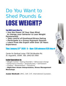Weight Loss Workshop @ Center for Spiritual Living, St. Augustine
