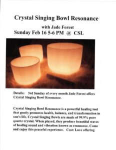 Crystal Singing Bowls with Jade Forest @ Center for Spiritual Living, St. Augustine