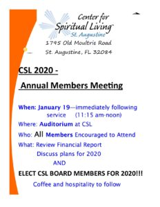 CSL Community Meeting @ Center for Spiritual Living, St. Augustine